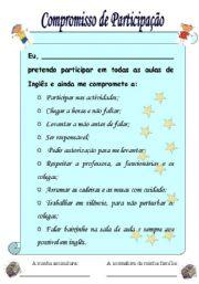 English Worksheets: Compromisso de Participa��o