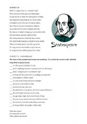 English Worksheet: Shakespeare´s sonnet 18
