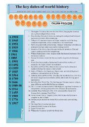 English Worksheet: the key dates of world history