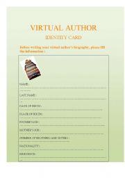 English worksheet: VIRTUAL AUTHOR´S ID