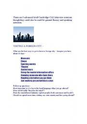 Advanced (CAE) interview/speaking activities