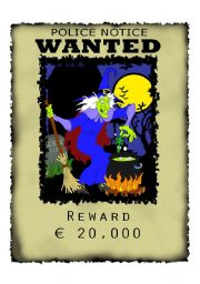 English Worksheets: Wanted Witch