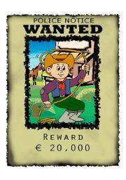 English Worksheets: Wanted Cowboy