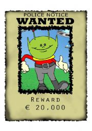 English Worksheets: Wanted Alien