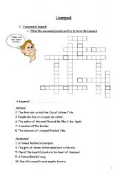 English Worksheet: First half of worksheets �lesson Liverpool�