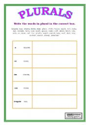 Grammar worksheets > Nouns > Plural of nouns