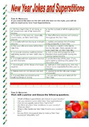 English Worksheet: New Year Jokes and Superstitions