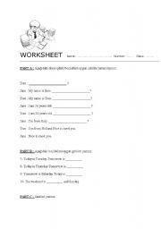 English Worksheets: worksheet on introducing