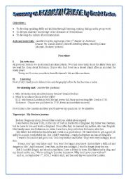 English Worksheet: Summary on Robinson Crusoe by Daniel Defoe