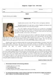 Angelina Jolie - life and career (reading tasks and grammar exercises)