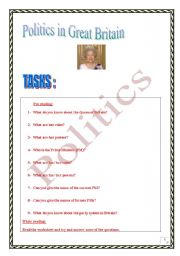 English Worksheet: Politics in Great Britain (3 pages. different skills & tasks)
