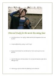 English Worksheets: Directed Study for the movie Becoming Jane