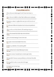 English Worksheet: !!! PARAPHRASING !!!