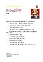 English Worksheet: High School Musical Movie Activity