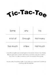 English Worksheet: Quantifiers - TIC TAC TOE