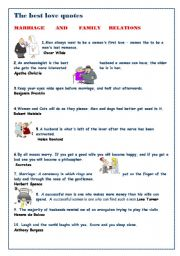English Worksheet: Fun with reading:The best love quotes: love and marriage relations