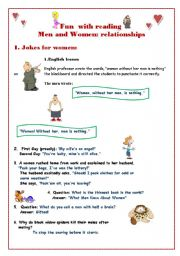 English Worksheet: Fun with reading: part 3 Jokes for women