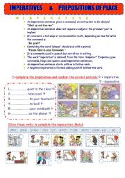 English Worksheet: IMPERATIVES-PREPOSITIONS OF PLACE ( 4 pages!)