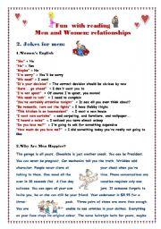 English Worksheet: Fun with reading:  part 4 Jokes for men