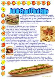 English Worksheet: Junk food Fact file - a short history of its invention