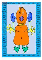 English Worksheet: Human body game