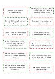 English Worksheet: Christmas Mingle:  Conversation cards