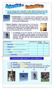 English Worksheet: Adjective + infinitive (Extreme sports)