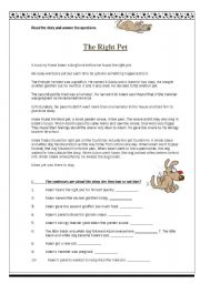 English Worksheets: The Right Pet