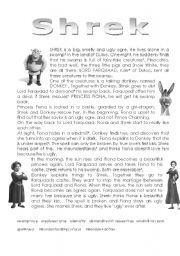 English Worksheet: shrek reading + exercises