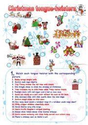 English Worksheets: Fun and phonetics: Christmas tongue-twisters II