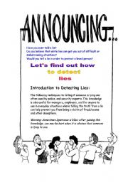 English Worksheets: How to detect lies
