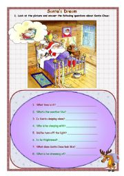 English Worksheet: SANTA�S DREAMS