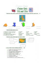English Worksheet: Culture Quiz: UK and USA