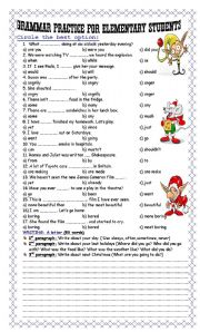 English Worksheet: Grammar Practice for Elementary Students