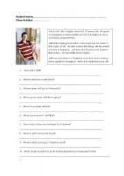 English Worksheets: Simple readin comprehension - answering questions.