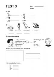 English Worksheet: happy street 1 - unit 3 test