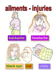 flashcard - ailments and injuries #1 - backache - headache - black eye - cut - chills