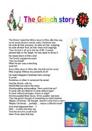 English Worksheet: The Grinch Story