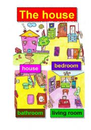 English Worksheet: the house - living spaces -  flashcards - bedroom - bathroom - living room
