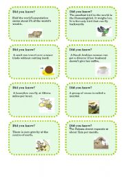 English Worksheet: Did you know...? 1-5