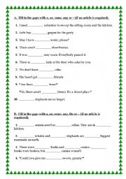 ESL kids worksheets: a-an-some-any