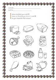 English Worksheet: Food like & dislikes!