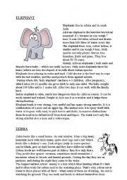 English Worksheets: elephant, zebra, hippo