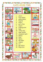 English Worksheets: Places around town