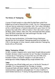 the history of thanksgiving worksheet by nicolejaks. Black Bedroom Furniture Sets. Home Design Ideas