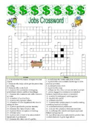 English Worksheet: Jobs Crossword - Anwers are provided