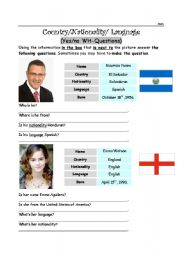 English Worksheet: Yes/NO and WH- Questions