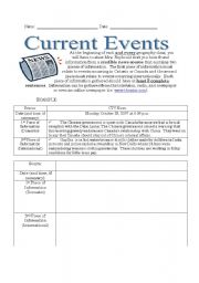 Printables Current Events Worksheet current event worksheet events of the week english events