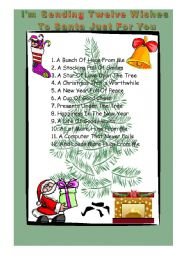 English Worksheet: 12 wishes to Santa Just for You