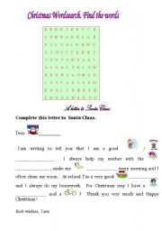 Christmas wordsearch and a letter to Santa Claus
